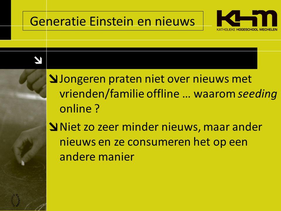 Generatie Einstein en nieuws Jongeren praten niet over nieuws met vrienden/familie offline … waarom seeding online .