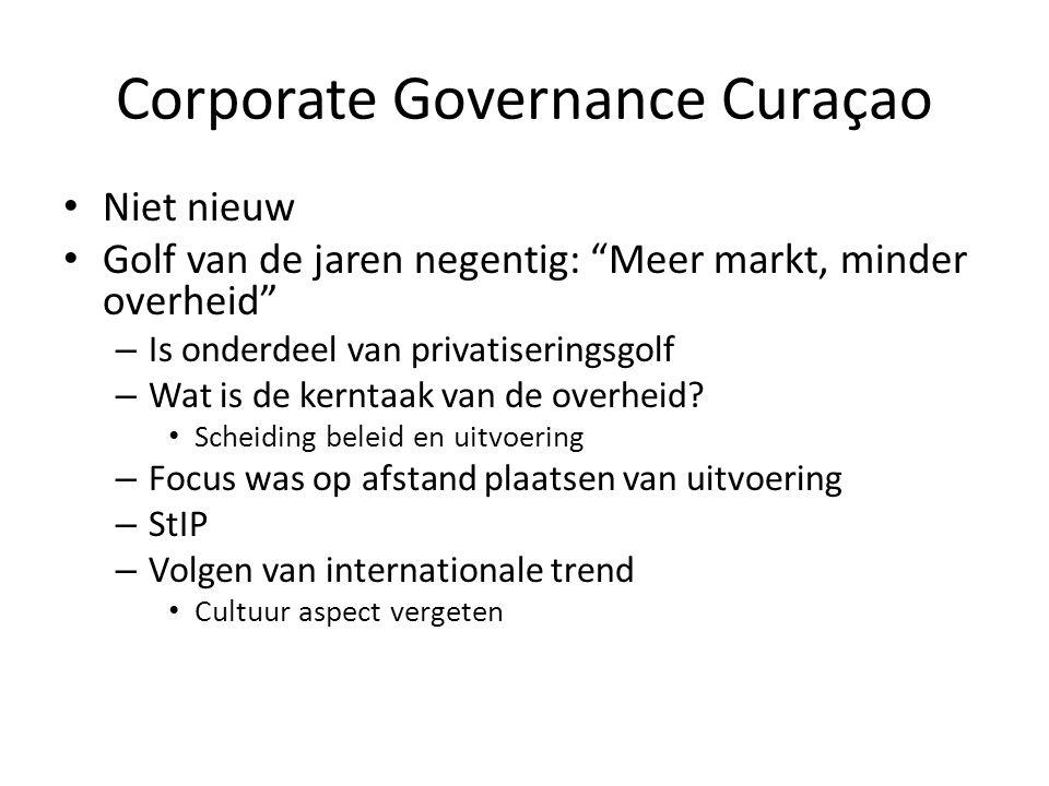 """Corporate Governance Curaçao Niet nieuw Golf van de jaren negentig: """"Meer markt, minder overheid"""" – Is onderdeel van privatiseringsgolf – Wat is de ke"""