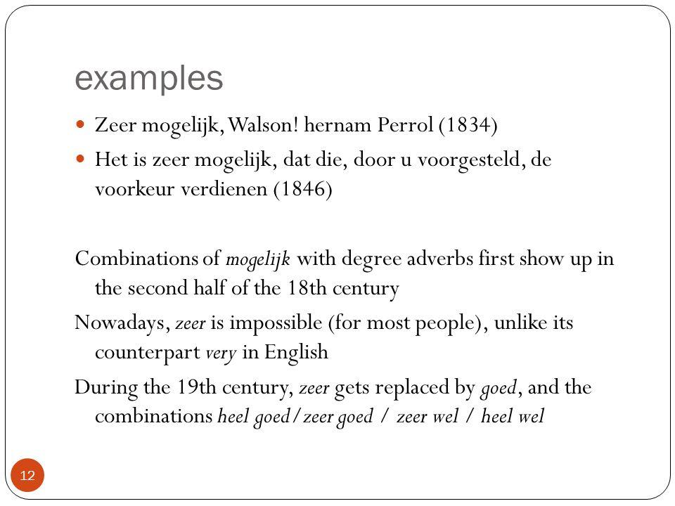 examples 12 Zeer mogelijk, Walson! hernam Perrol (1834) Het is zeer mogelijk, dat die, door u voorgesteld, de voorkeur verdienen (1846) Combinations o