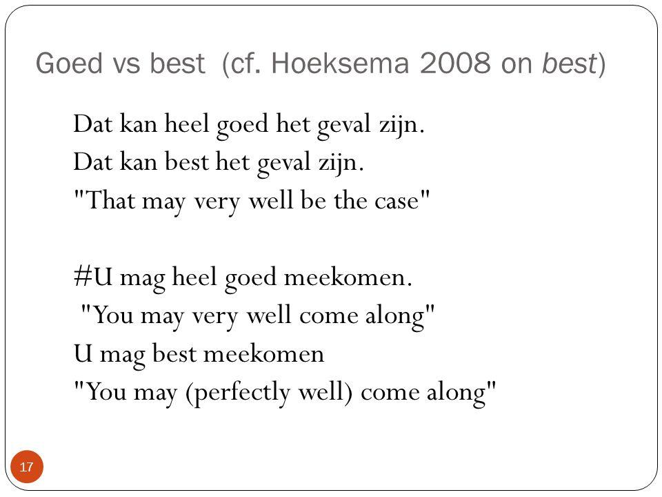Goed vs best (cf. Hoeksema 2008 on best) Dat kan heel goed het geval zijn. Dat kan best het geval zijn.