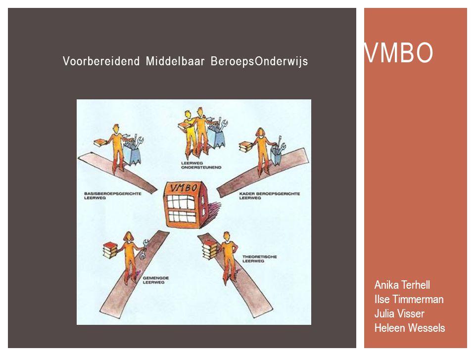 Voorbereidend Middelbaar BeroepsOnderwijs VMBO Anika Terhell Ilse Timmerman Julia Visser Heleen Wessels