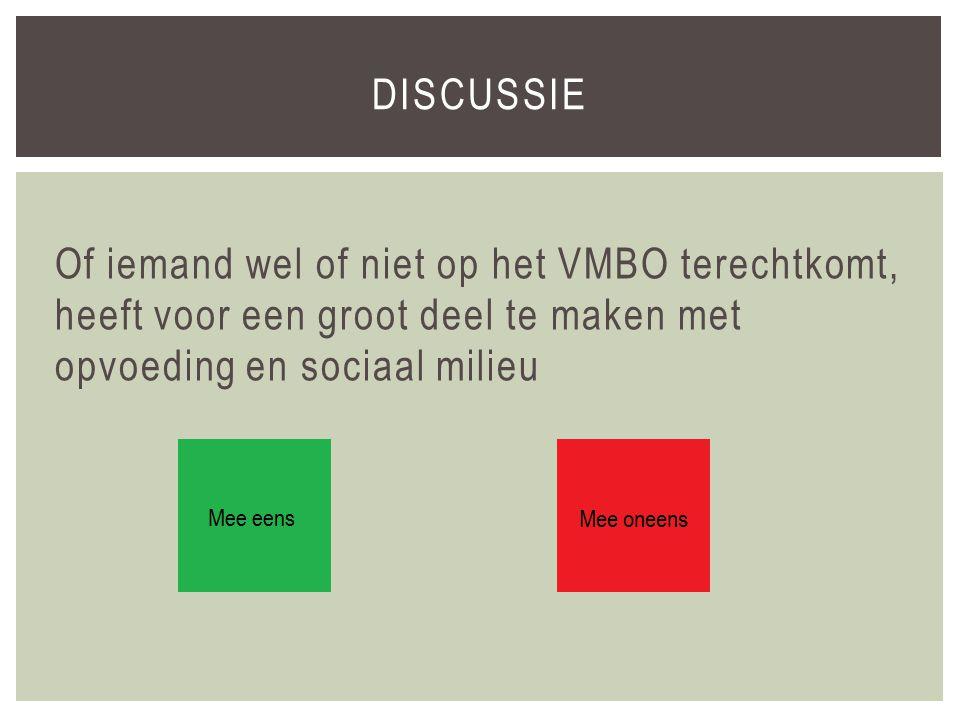 Of iemand wel of niet op het VMBO terechtkomt, heeft voor een groot deel te maken met opvoeding en sociaal milieu DISCUSSIE