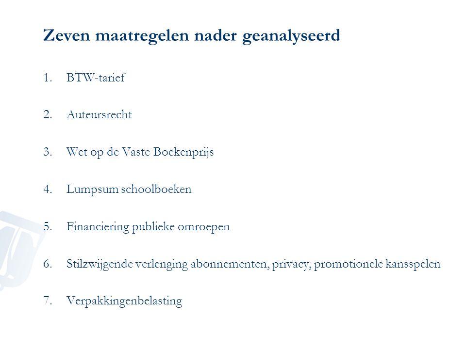 Zeven maatregelen nader geanalyseerd 1.BTW-tarief 2.Auteursrecht 3.Wet op de Vaste Boekenprijs 4.Lumpsum schoolboeken 5.Financiering publieke omroepen