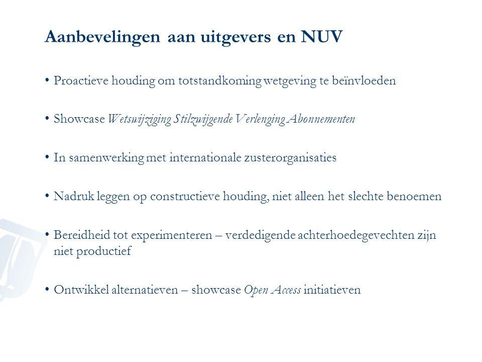 Aanbevelingen aan uitgevers en NUV Proactieve houding om totstandkoming wetgeving te beïnvloeden Showcase Wetswijziging Stilzwijgende Verlenging Abonn