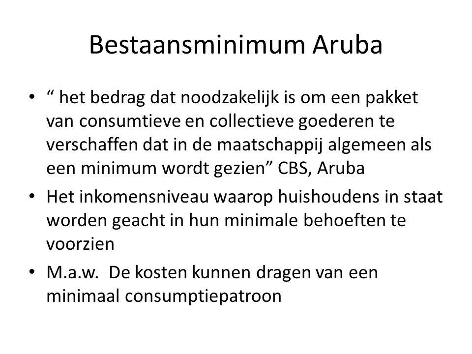"""Bestaansminimum Aruba """" het bedrag dat noodzakelijk is om een pakket van consumtieve en collectieve goederen te verschaffen dat in de maatschappij alg"""