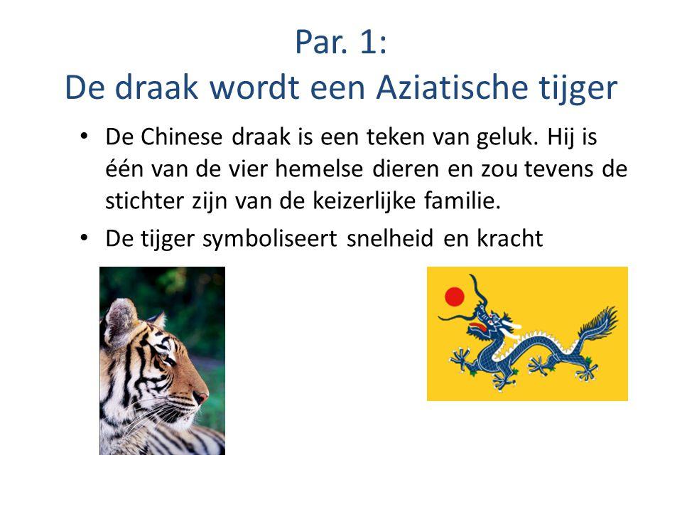Par. 1: De draak wordt een Aziatische tijger De Chinese draak is een teken van geluk. Hij is één van de vier hemelse dieren en zou tevens de stichter