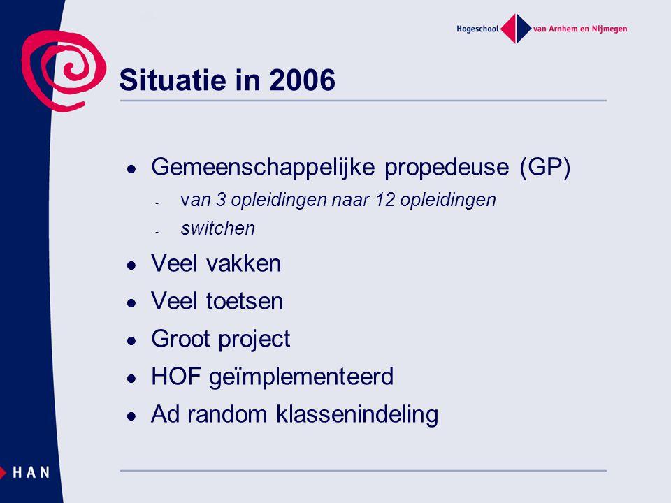 Situatie in 2006 Gemeenschappelijke propedeuse (GP) - van 3 opleidingen naar 12 opleidingen - switchen Veel vakken Veel toetsen Groot project HOF geïmplementeerd Ad random klassenindeling