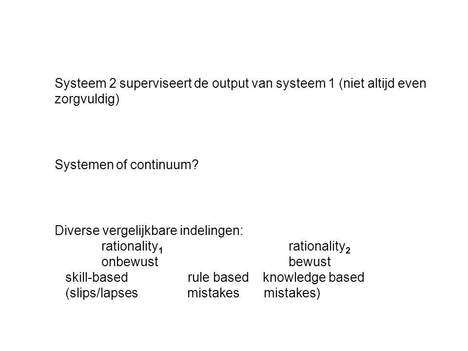 Systeem 2 superviseert de output van systeem 1 (niet altijd even zorgvuldig) Systemen of continuum.