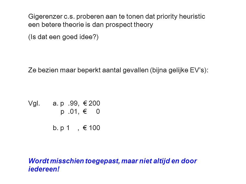 Ze bezien maar beperkt aantal gevallen (bijna gelijke EV's): Vgl.a.