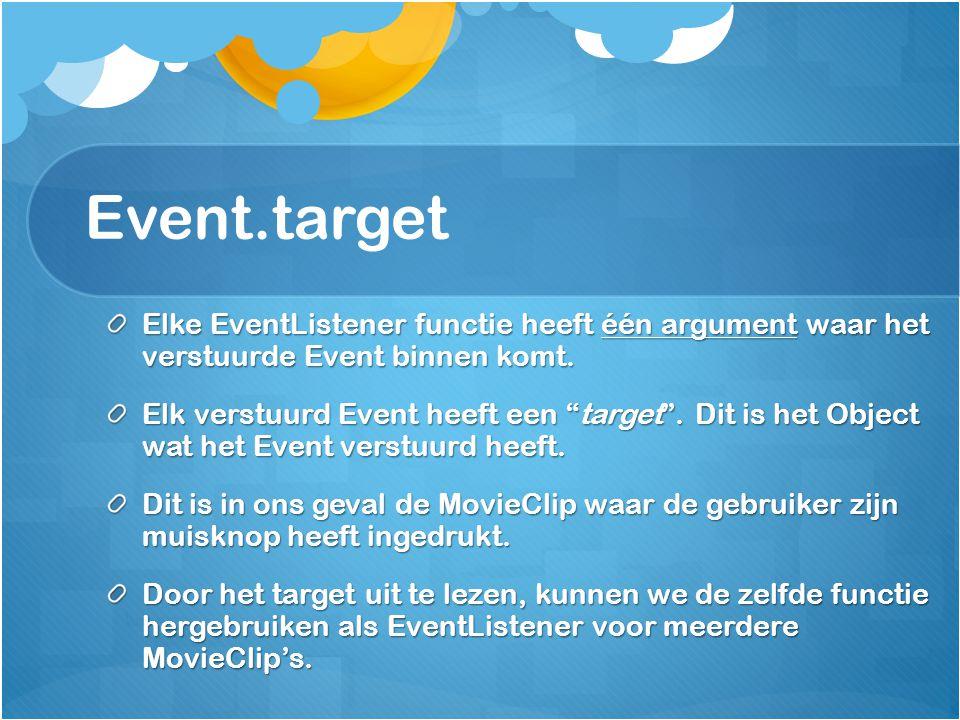Event.target Elke EventListener functie heeft één argument waar het verstuurde Event binnen komt.