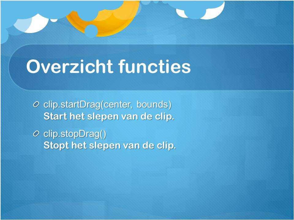 clip.startDrag(center, bounds); Aan de functie startDrag kan je twee argumenten meegeven.