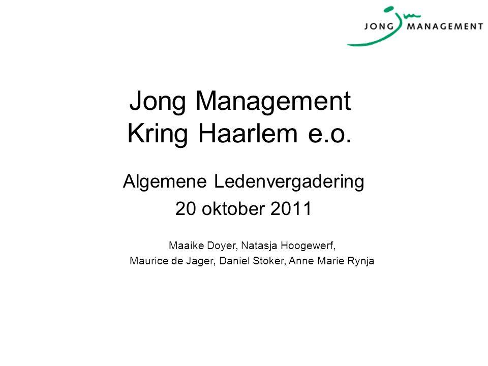Jong Management Kring Haarlem e.o. Algemene Ledenvergadering 20 oktober 2011 Maaike Doyer, Natasja Hoogewerf, Maurice de Jager, Daniel Stoker, Anne Ma