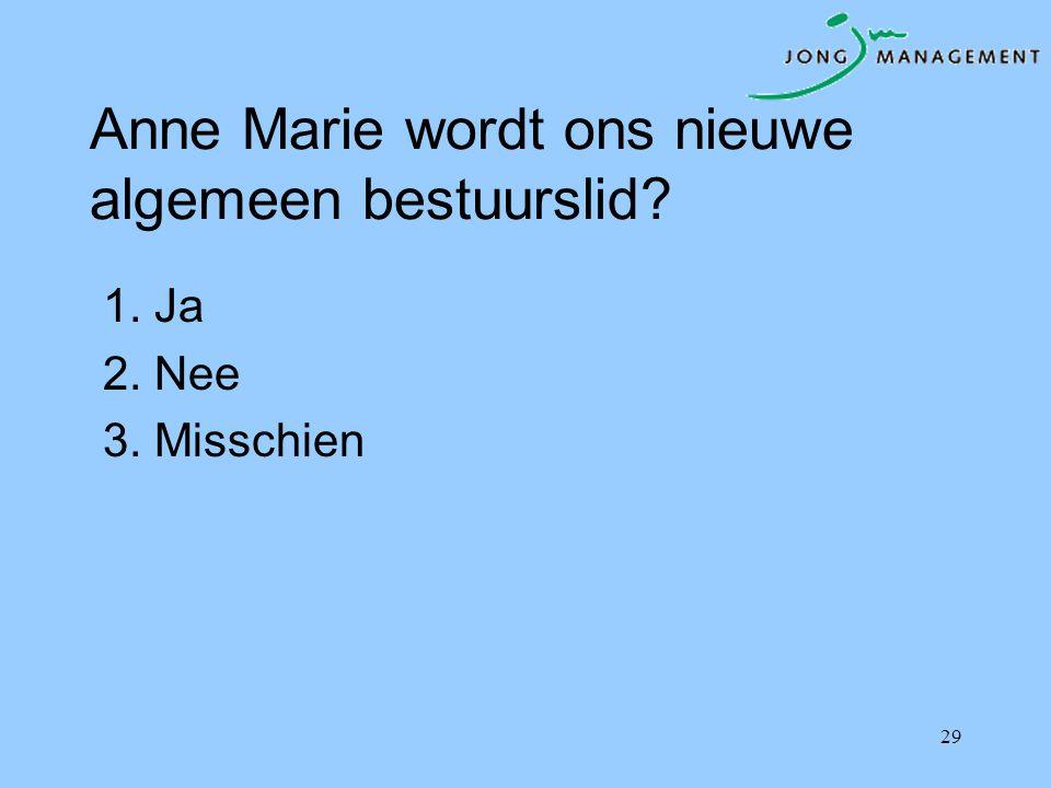 Anne Marie wordt ons nieuwe algemeen bestuurslid? 1. Ja 2. Nee 3. Misschien 29