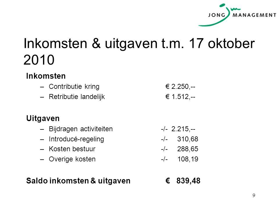 Inkomsten & uitgaven t.m. 17 oktober 2010 Inkomsten –Contributie kring€ 2.250,-- –Retributie landelijk€ 1.512,-- Uitgaven –Bijdragen activiteiten -/-
