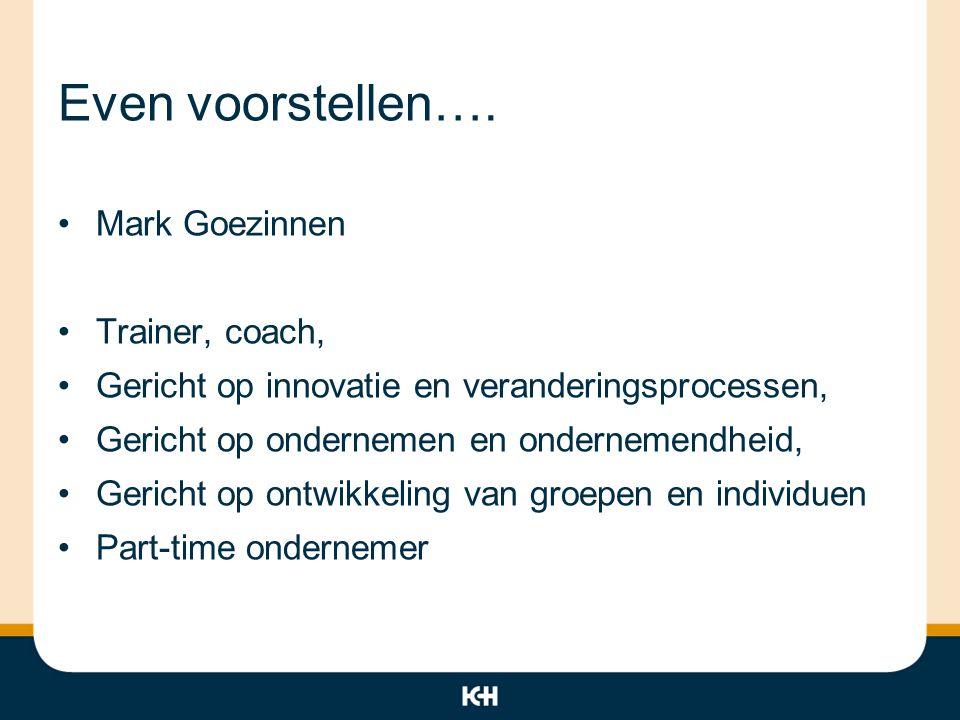 Even voorstellen…. Mark Goezinnen Trainer, coach, Gericht op innovatie en veranderingsprocessen, Gericht op ondernemen en ondernemendheid, Gericht op