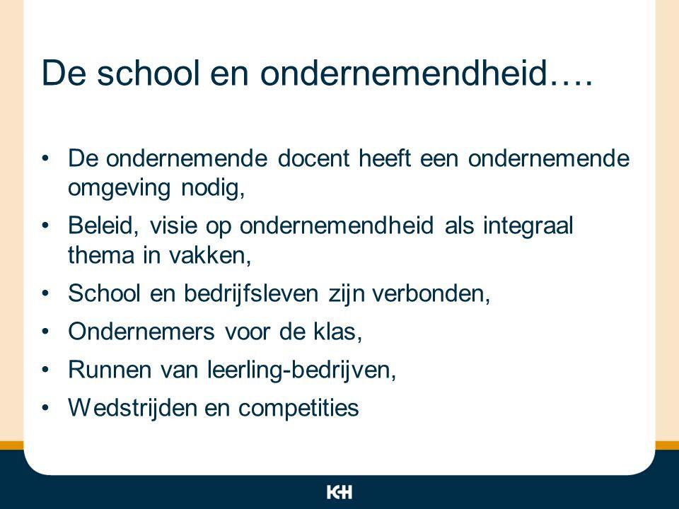 De school en ondernemendheid…. De ondernemende docent heeft een ondernemende omgeving nodig, Beleid, visie op ondernemendheid als integraal thema in v