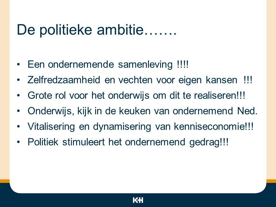 De politieke ambitie……. Een ondernemende samenleving !!!! Zelfredzaamheid en vechten voor eigen kansen !!! Grote rol voor het onderwijs om dit te real