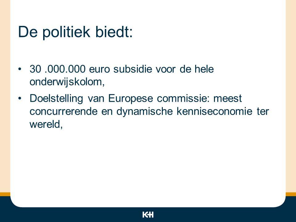 De politiek biedt: 30.000.000 euro subsidie voor de hele onderwijskolom, Doelstelling van Europese commissie: meest concurrerende en dynamische kennis