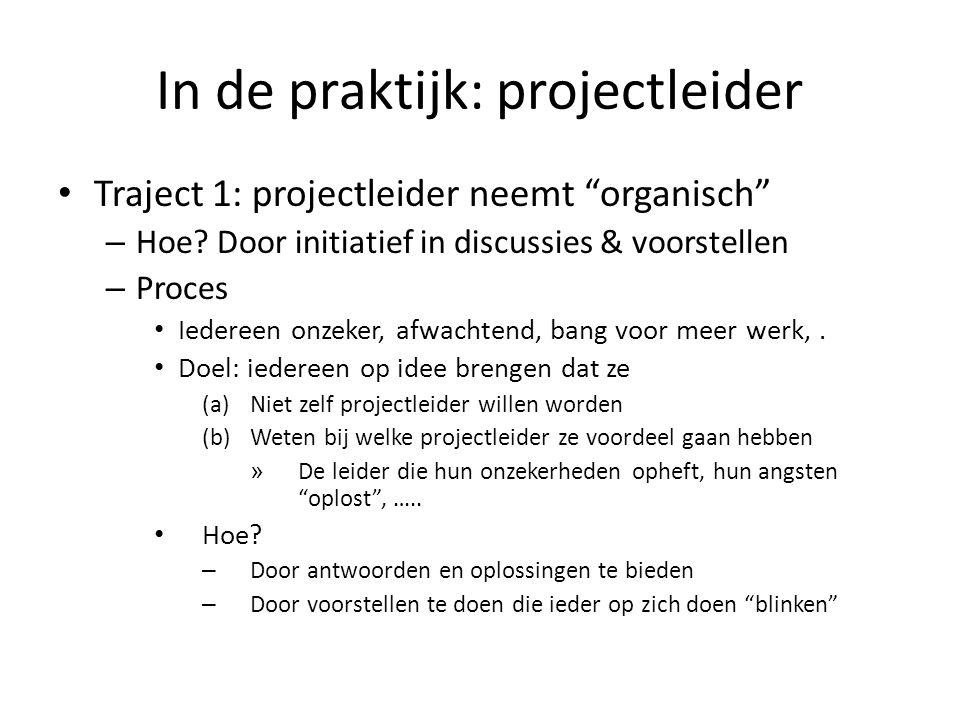 In de praktijk: projectleider Traject 1: projectleider neemt organisch – Hoe.