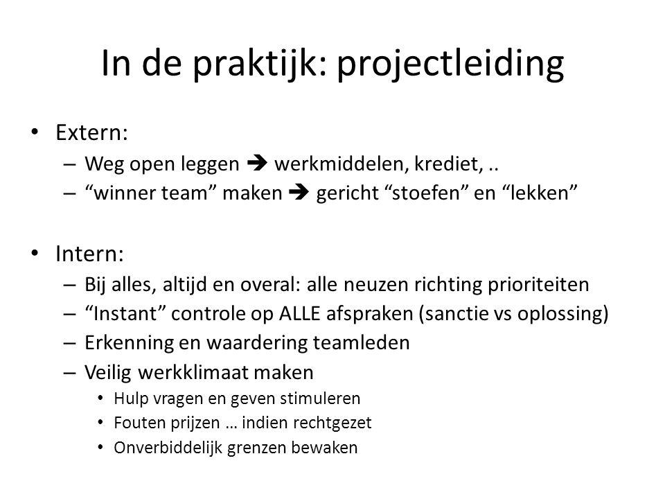 In de praktijk: projectleiding Extern: – Weg open leggen  werkmiddelen, krediet,..