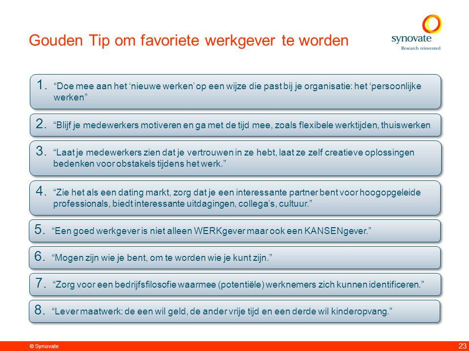 © Synovate 23 Gouden Tip om favoriete werkgever te worden 1.