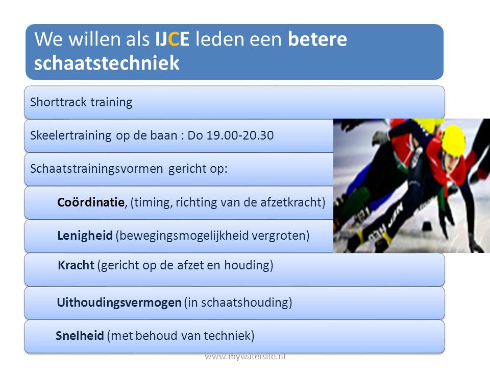 We willen als IJCE leden een betere schaatstechniek Shorttrack trainingSkeelertraining op de baan : Do 19.00-20.30Schaatstrainingsvormen gericht op:Co