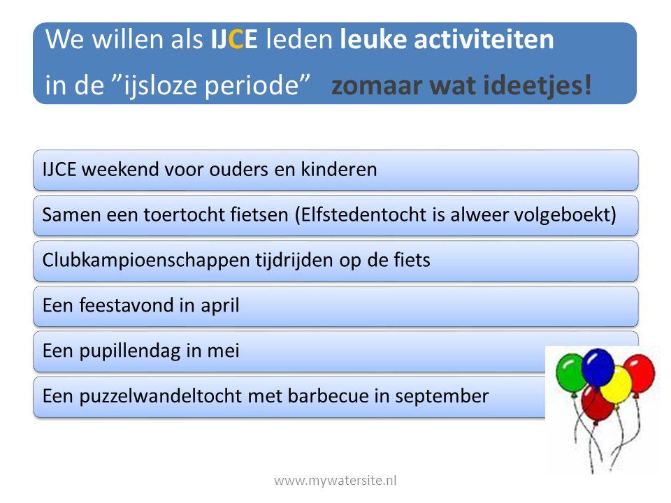 """We willen als IJCE leden leuke activiteiten in de """"ijsloze periode"""" zomaar wat ideetjes! IJCE weekend voor ouders en kinderenSamen een toertocht fiets"""