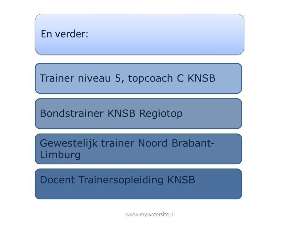 En verder: Trainer niveau 5, topcoach C KNSB Bondstrainer KNSB Regiotop Gewestelijk trainer Noord Brabant- Limburg Docent Trainersopleiding KNSB www.m