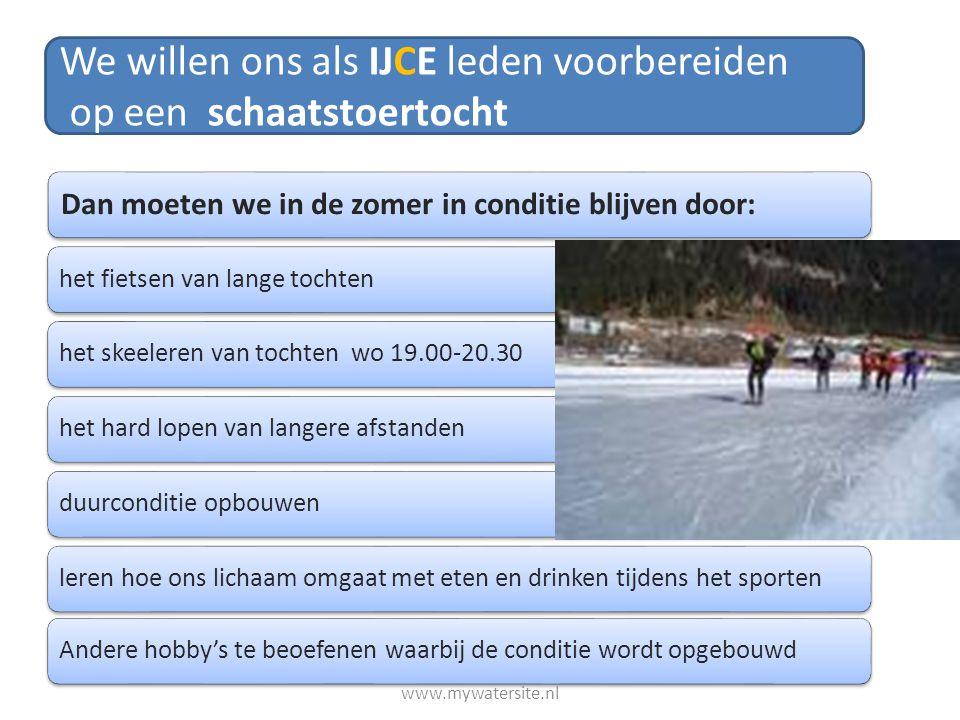 Dan moeten we in de zomer in conditie blijven door: het fietsen van lange tochtenhet skeeleren van tochten wo 19.00-20.30het hard lopen van langere af