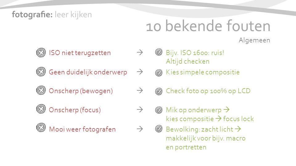 10 bekende fouten ISO niet terugzetten  Bijv. ISO 1600: ruis.