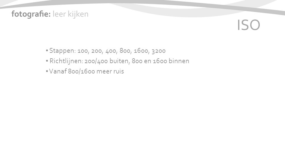 ISO Stappen: 100, 200, 400, 800, 1600, 3200 Richtlijnen: 200/400 buiten, 800 en 1600 binnen Vanaf 800/1600 meer ruis