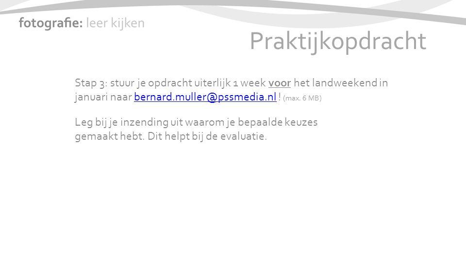 Praktijkopdracht Stap 3: stuur je opdracht uiterlijk 1 week voor het landweekend in januari naar bernard.muller@pssmedia.nl .