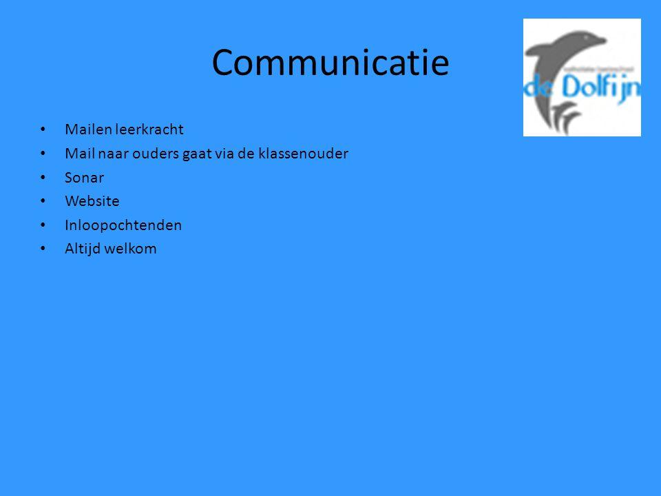 Communicatie Mailen leerkracht Mail naar ouders gaat via de klassenouder Sonar Website Inloopochtenden Altijd welkom