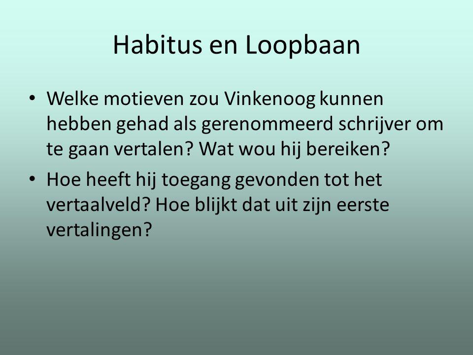 Habitus en Loopbaan Welke motieven zou Vinkenoog kunnen hebben gehad als gerenommeerd schrijver om te gaan vertalen? Wat wou hij bereiken? Hoe heeft h