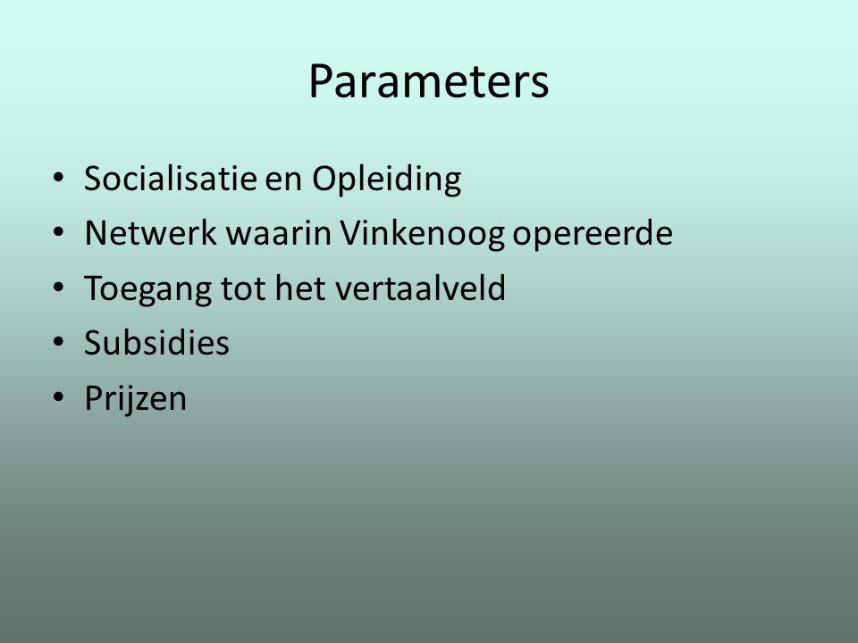 Parameters Socialisatie en Opleiding Netwerk waarin Vinkenoog opereerde Toegang tot het vertaalveld Subsidies Prijzen