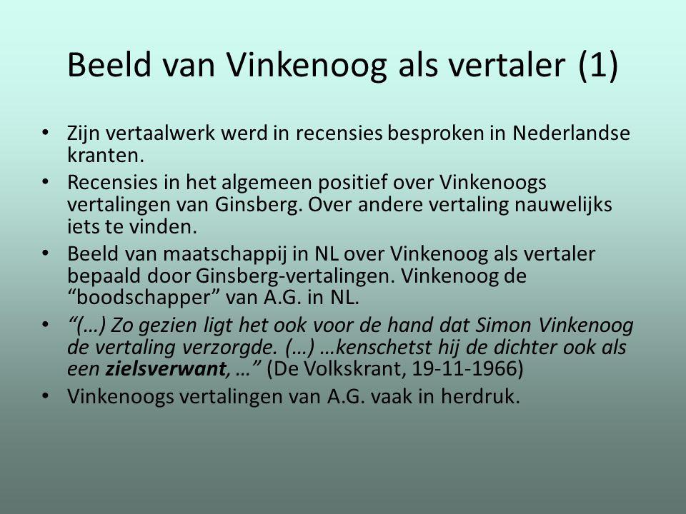 Beeld van Vinkenoog als vertaler (1) Zijn vertaalwerk werd in recensies besproken in Nederlandse kranten. Recensies in het algemeen positief over Vink