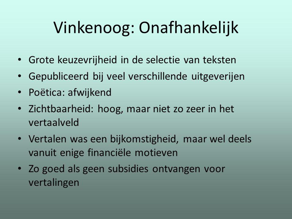 Vinkenoog: Onafhankelijk Grote keuzevrijheid in de selectie van teksten Gepubliceerd bij veel verschillende uitgeverijen Poëtica: afwijkend Zichtbaarh