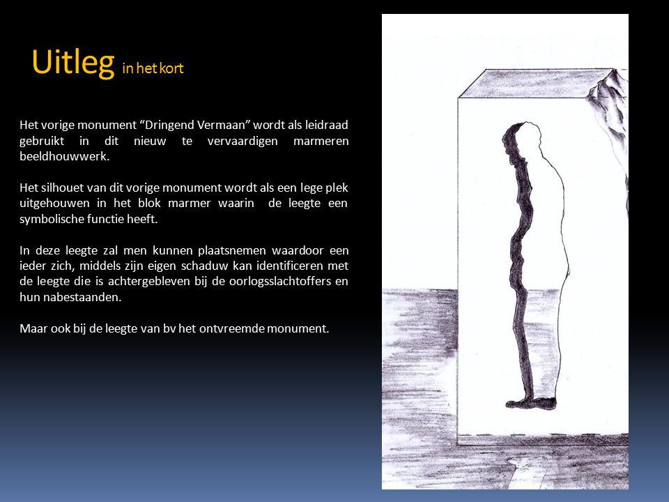 Uitleg in het kort Het vorige monument Dringend Vermaan wordt als leidraad gebruikt in dit nieuw te vervaardigen marmeren beeldhouwwerk.