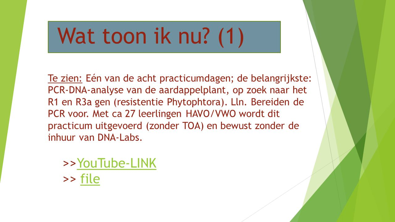 Wat toon ik nu? (1) Te zien: Eén van de acht practicumdagen; de belangrijkste: PCR-DNA-analyse van de aardappelplant, op zoek naar het R1 en R3a gen (