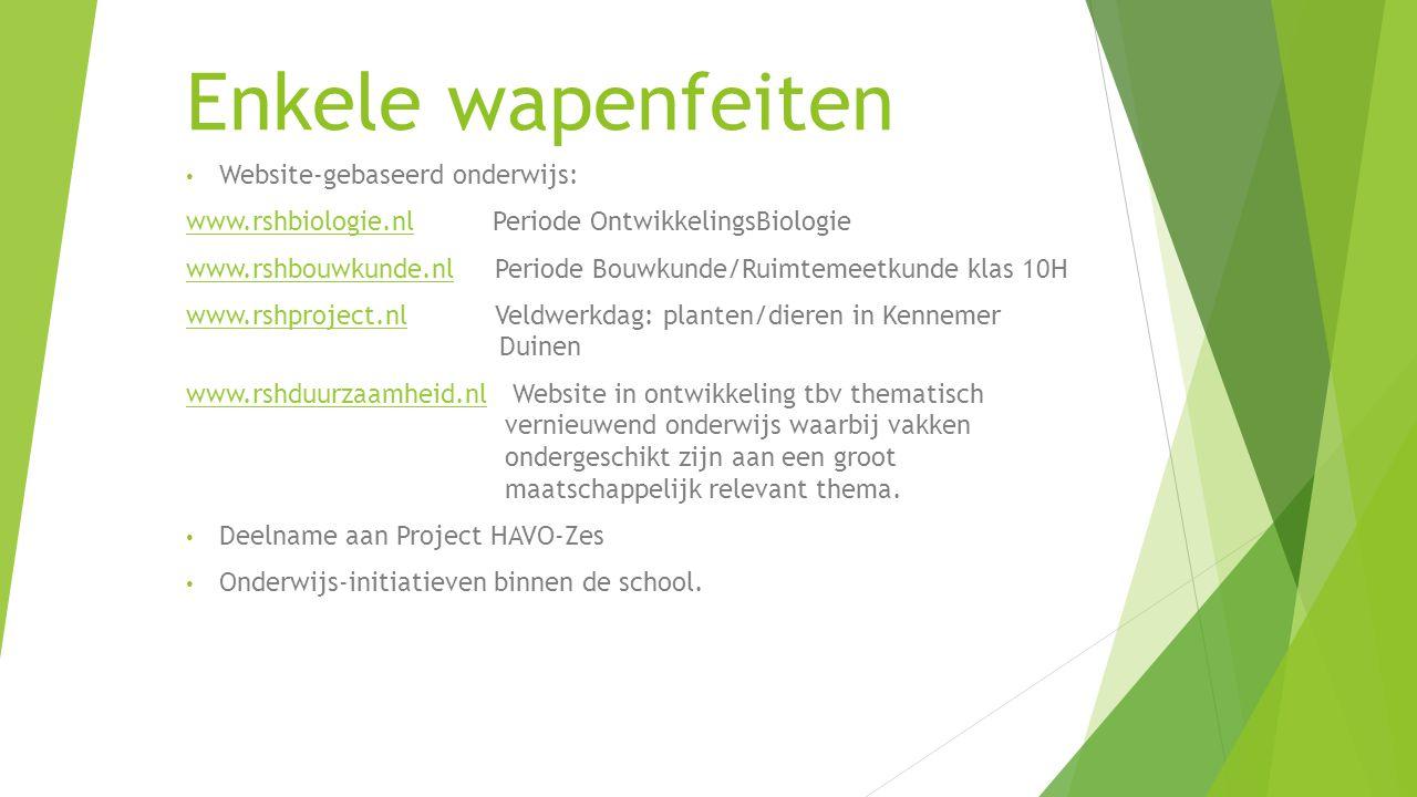 Enkele wapenfeiten Website-gebaseerd onderwijs: www.rshbiologie.nlwww.rshbiologie.nl Periode OntwikkelingsBiologie www.rshbouwkunde.nlwww.rshbouwkunde