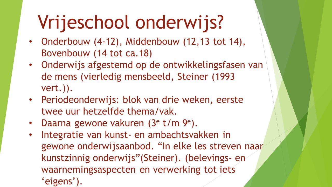 Vrijeschool onderwijs? Onderbouw (4-12), Middenbouw (12,13 tot 14), Bovenbouw (14 tot ca.18) Onderwijs afgestemd op de ontwikkelingsfasen van de mens