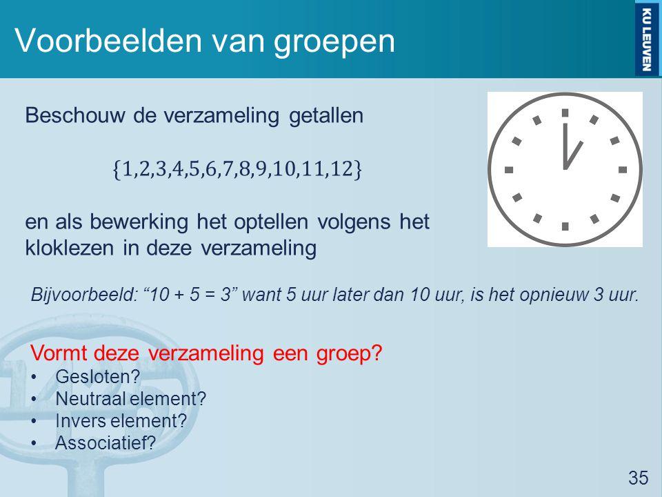 Voorbeelden van groepen 35 Bijvoorbeeld: 10 + 5 = 3 want 5 uur later dan 10 uur, is het opnieuw 3 uur.