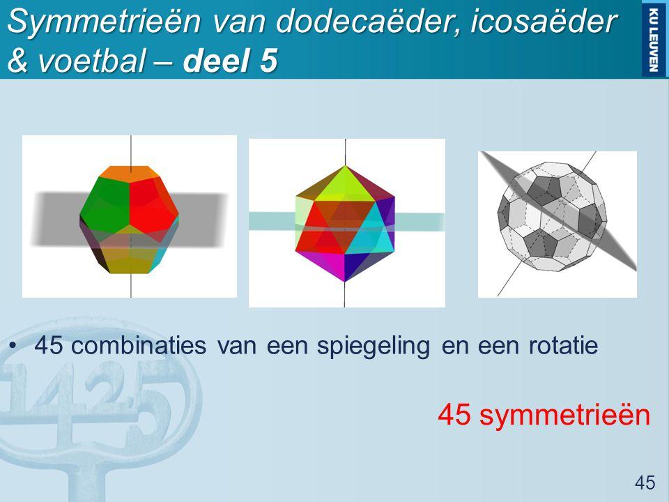 Symmetrieën van dodecaëder, icosaëder & voetbal – deel 5 45 combinaties van een spiegeling en een rotatie 45 45 symmetrieën