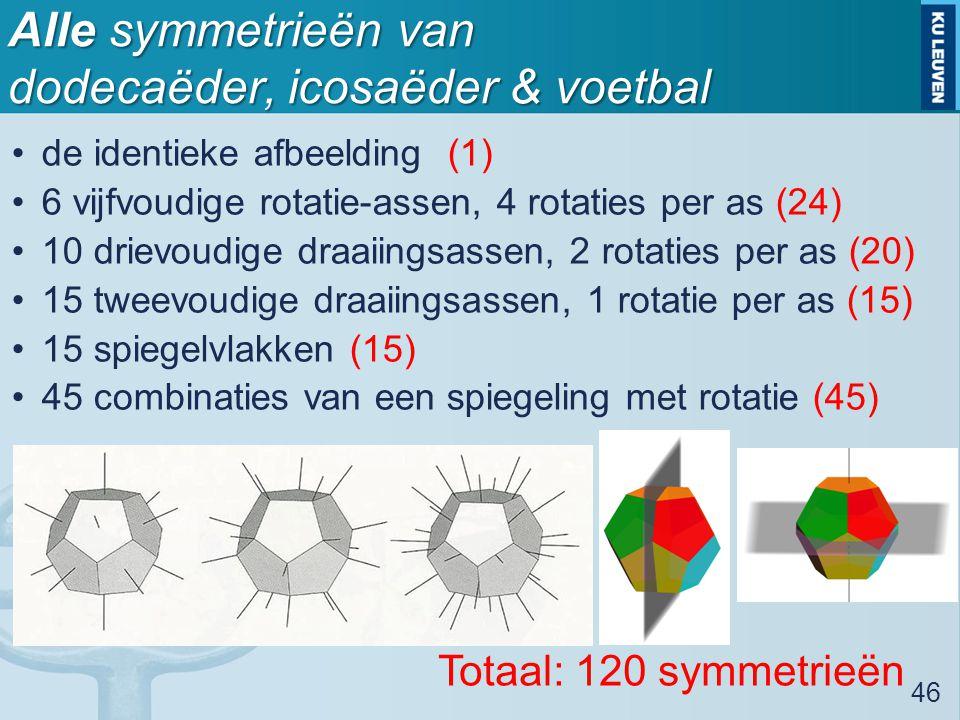 Alle symmetrieën van dodecaëder, icosaëder & voetbal de identieke afbeelding (1) 6 vijfvoudige rotatie-assen, 4 rotaties per as (24) 10 drievoudige draaiingsassen, 2 rotaties per as (20) 15 tweevoudige draaiingsassen, 1 rotatie per as (15) 15 spiegelvlakken (15) 45 combinaties van een spiegeling met rotatie (45) 46 Totaal: 120 symmetrieën