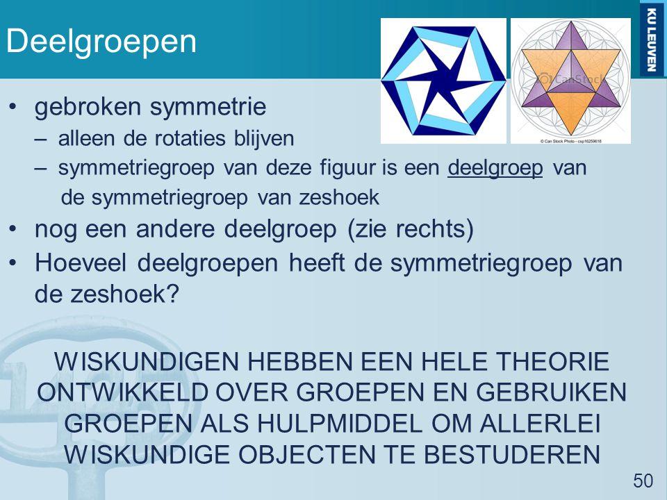 Deelgroepen gebroken symmetrie –alleen de rotaties blijven –symmetriegroep van deze figuur is een deelgroep van de symmetriegroep van zeshoek nog een andere deelgroep (zie rechts) Hoeveel deelgroepen heeft de symmetriegroep van de zeshoek.