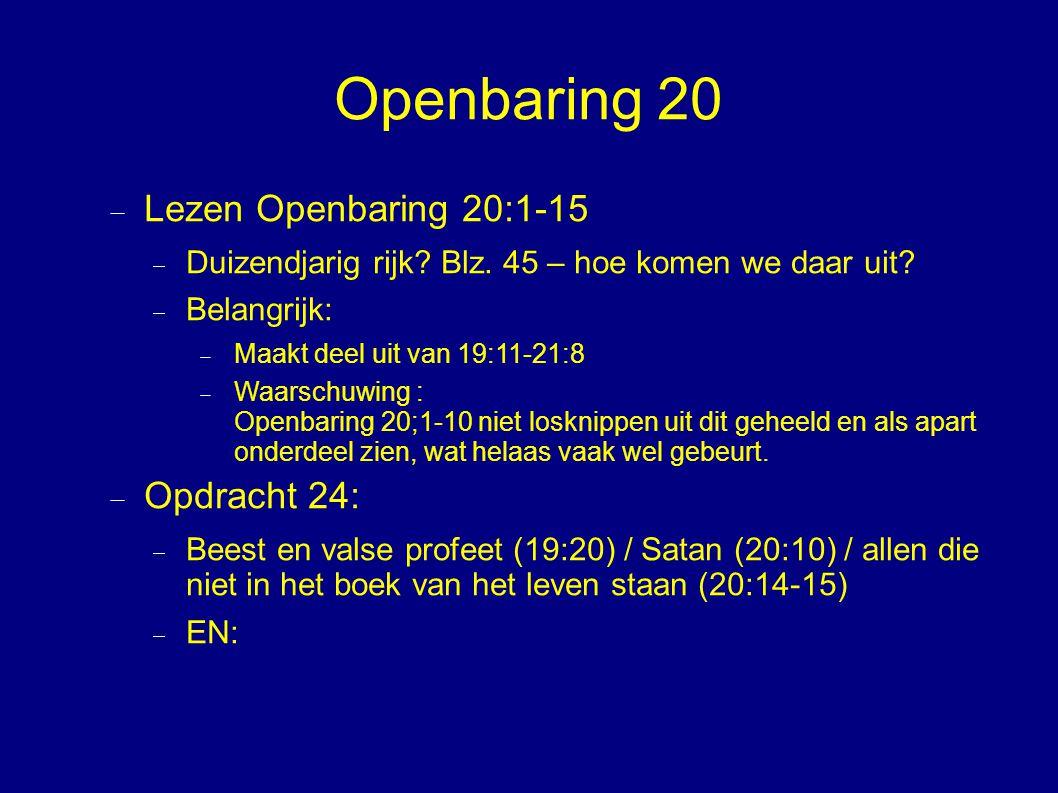 Openbaring 20  Lezen Openbaring 20:1-15  Duizendjarig rijk.