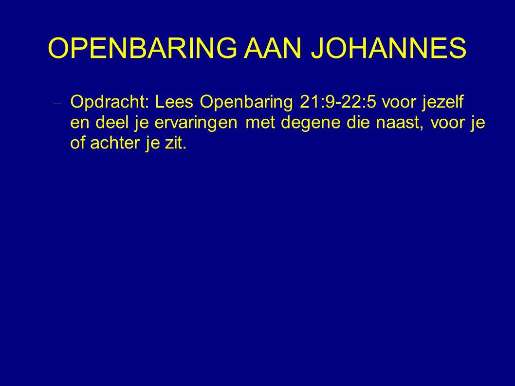 OPENBARING AAN JOHANNES  Opdracht: Lees Openbaring 21:9-22:5 voor jezelf en deel je ervaringen met degene die naast, voor je of achter je zit.