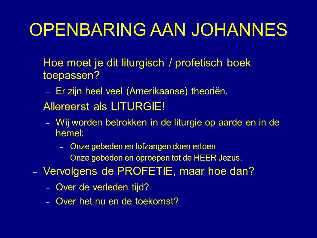OPENBARING AAN JOHANNES  Hoe moet je dit liturgisch / profetisch boek toepassen.