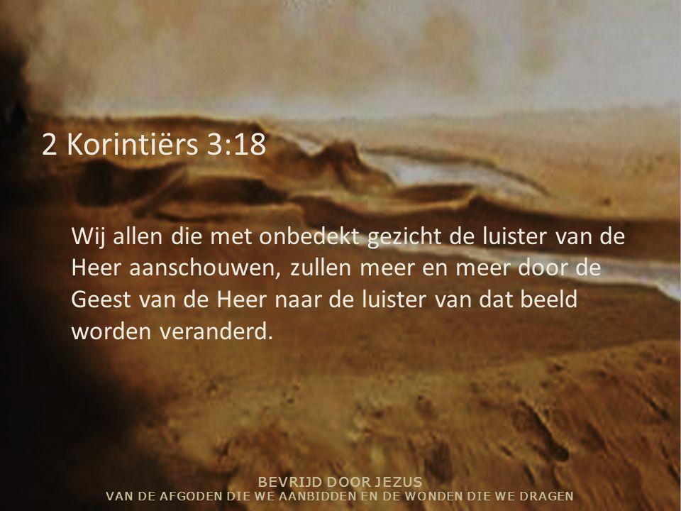 BEVRIJD DOOR JEZUS VAN DE AFGODEN DIE WE AANBIDDEN EN DE WONDEN DIE WE DRAGEN 2 Korintiërs 3:18 Wij allen die met onbedekt gezicht de luister van de H