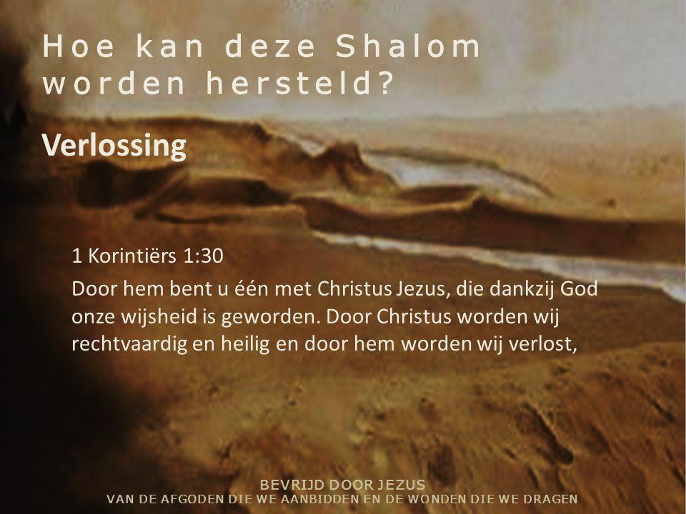 BEVRIJD DOOR JEZUS VAN DE AFGODEN DIE WE AANBIDDEN EN DE WONDEN DIE WE DRAGEN Hoe kan deze Shalom worden hersteld? Verlossing 1 Korintiërs 1:30 Door h